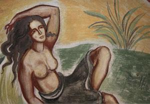 """Takmålning """"Två kvinnor i landskap"""", signerad  John Johnsson (1930)"""