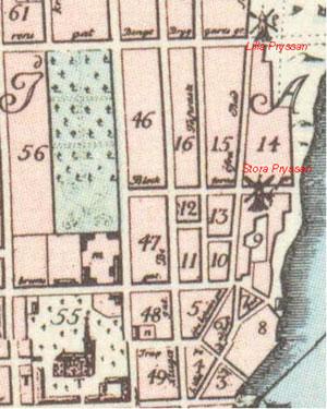 Tillaeus' karta från 1733 över Mariaberget
