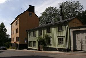 Äldre hus vid slutet av Bastugatan