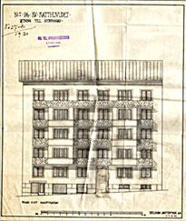 Ritning till nybyggnad av Bastugatan 21,  Kjellbergs Arkitektbyrå (1930)